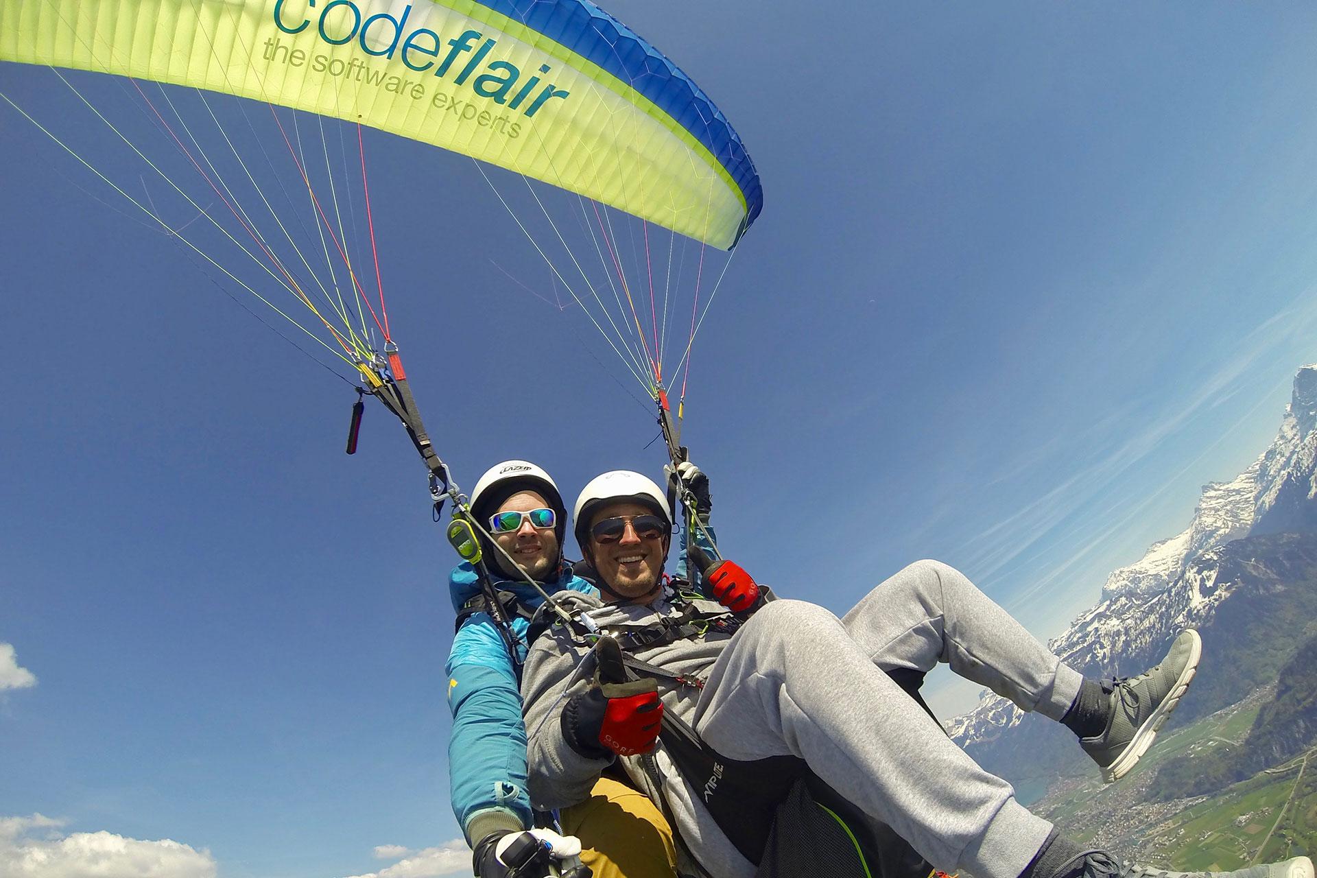 codeflair fun paragliding team building